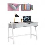שולחן כתיבה לנוער רגלי עץ מלא  + מדפים לקיר