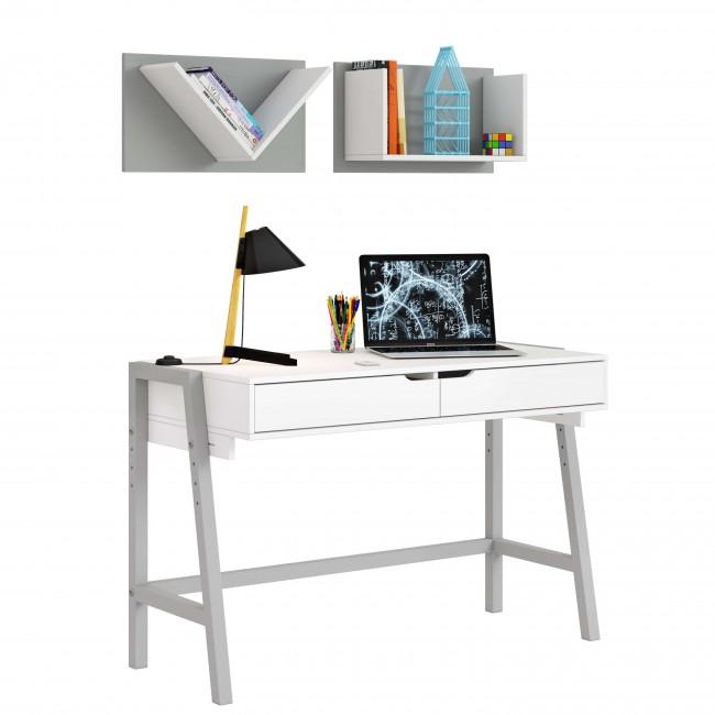 שולחן כתיבה רגלי עץ מלא  + מדפים לקיר
