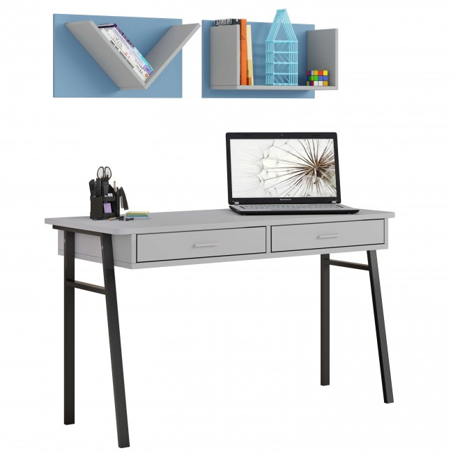 שולחן כתיבה לנוער רגלי מתכת  + מדפים לקיר