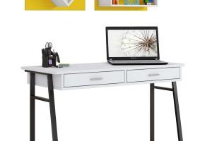 שולחן כתיבה רגלי מתכת  + מדפים לקיר